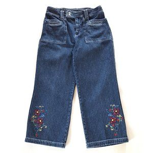 Women's Cropped Jeans Pants With Embroidered